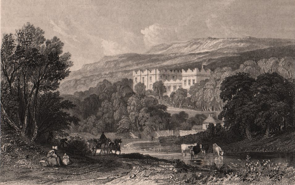Associate Product COUNTY DURHAM. Stanhope Castle. ALLOM 1839 old antique vintage print picture
