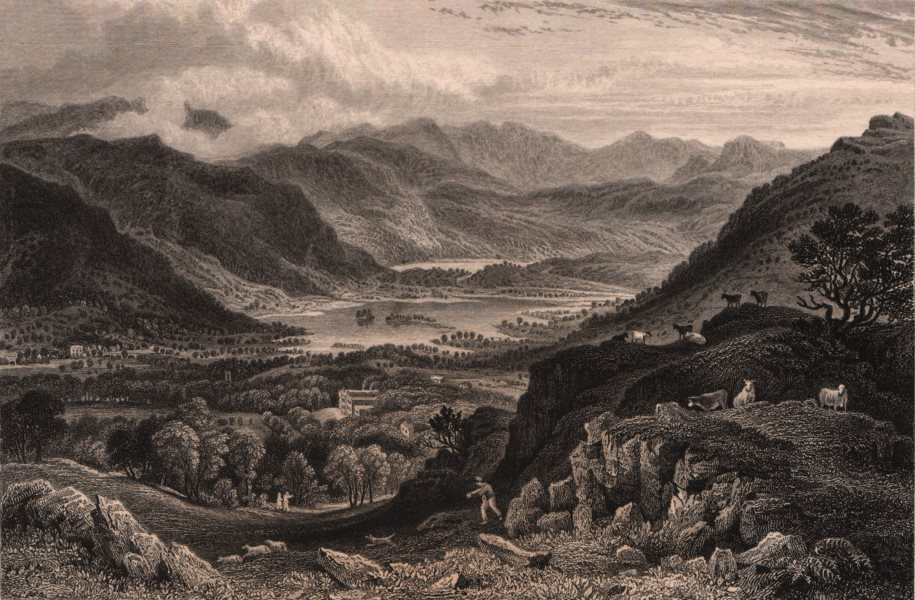 Associate Product LAKE DISTRICT. Rydal Water & Grasmere from Rydal Park, Cumbria 1839 old print