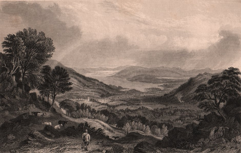 Associate Product LAKE DISTRICT. Windermere, Esthwaite Water & Ambleside from Hydal Park 1839