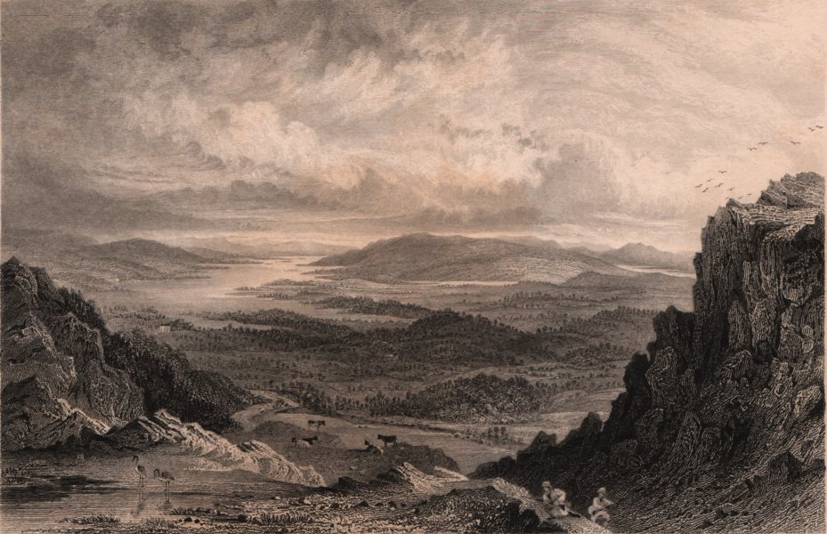 LAKE DISTRICT. Windermere, Esthwaite & Coniston lakes from Loughrigg Fell 1839