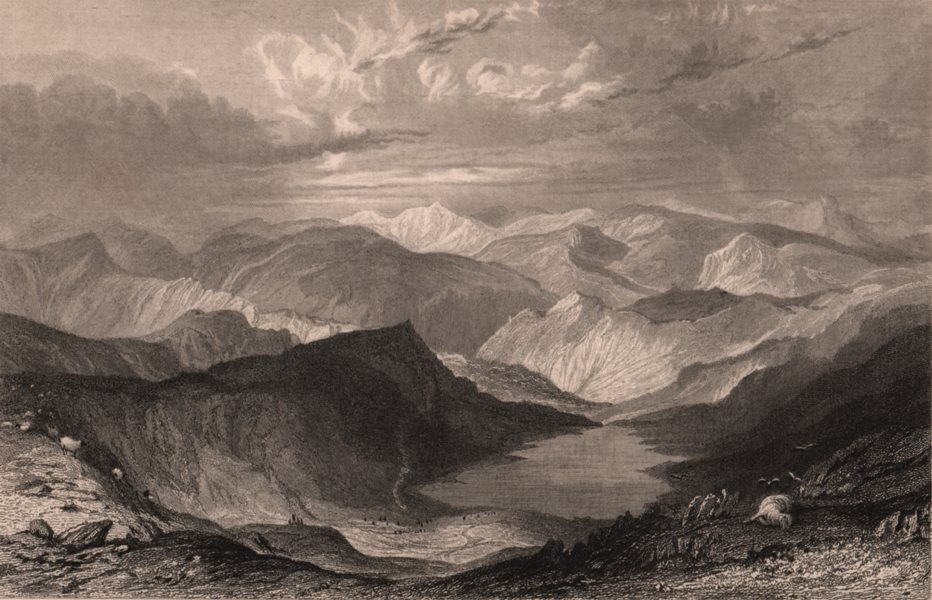 Associate Product LAKE DISTRICT. Hayeswater, from High Street Mountain. Cumbria. ALLOM 1839
