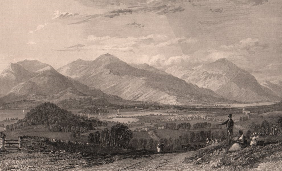 Associate Product LAKE DISTRICT. Keswick & Derwent from the Kendal road. Cumbria. ALLOM 1839
