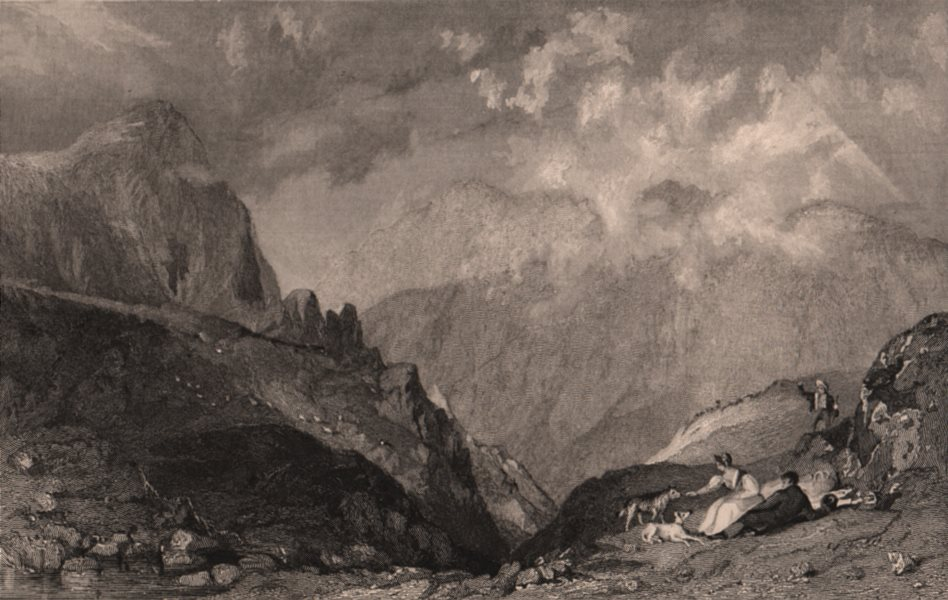 Associate Product LAKE DISTRICT. View from Langdale Pikes to Bowfell, Cumbria. ALLOM 1839 print