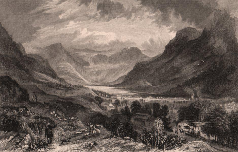 Associate Product LAKE DISTRICT. Buttermere lake & village, Cumberland. Cumbria 1839 old print