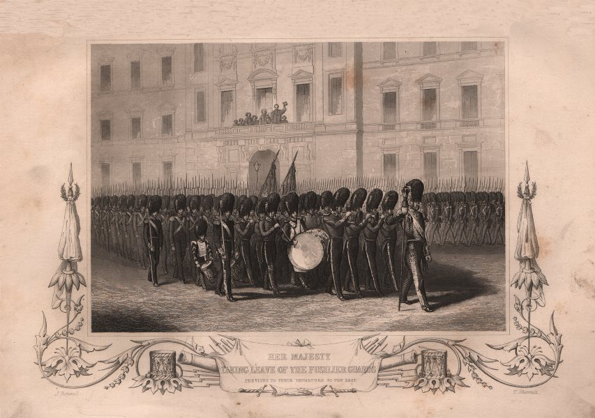 Associate Product CRIMEAN WAR. Queen Victoria taking leave of the Fusilier guards 1860 old print