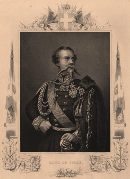 ITALY. King Victor Emanuel II of Italy. Crimean War 1860 old antique print