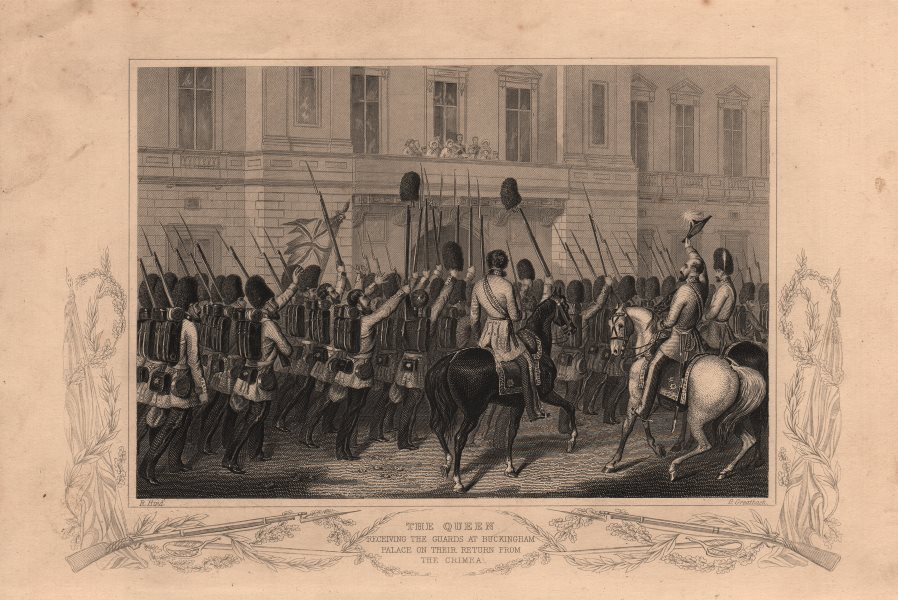 Associate Product CRIMEAN WAR. Queen Victoria receiving the guards at Buckingham Palace 1860