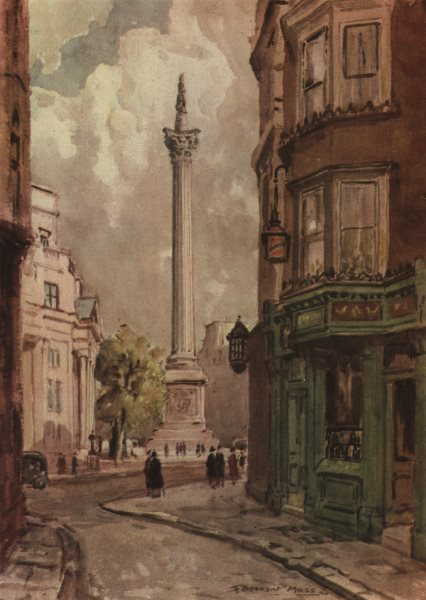Associate Product TRAFALGAR SQUARE. Nelson's Column, from the South-West, by S. Dennant Moss 1947