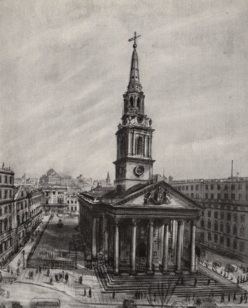 Associate Product TRAFALGAR SQUARE. St. Martin's-in-the-Fields, by Frances Macdonald 1947 print