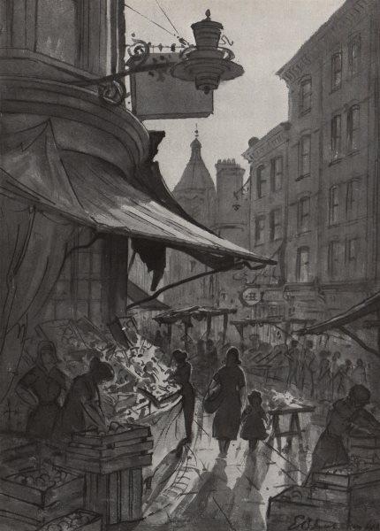 Associate Product SOHO. The market, Rupert Street, by E. B. Musman. London 1947 old print