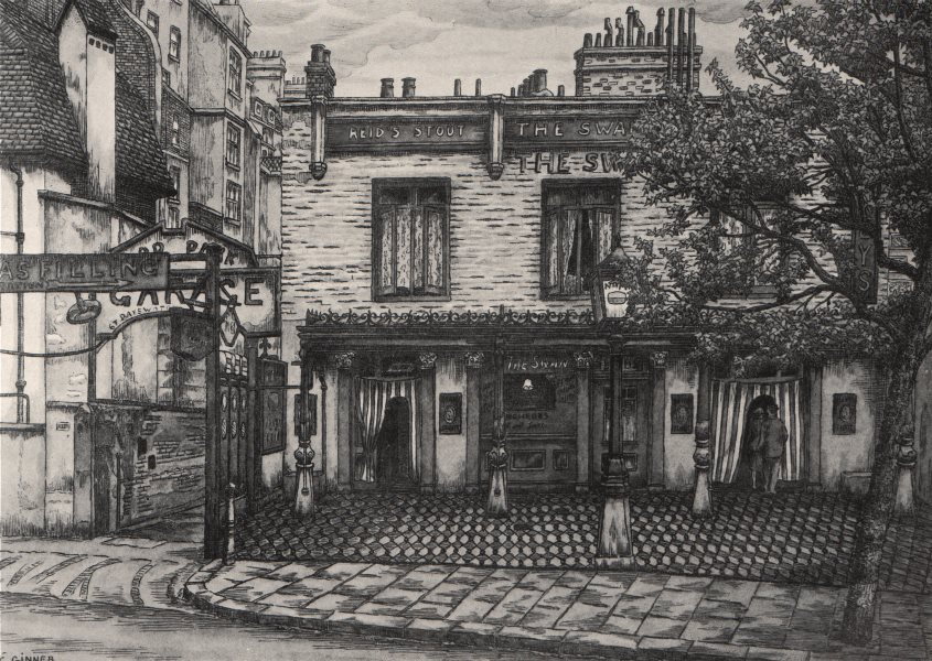 BAYSWATER. The Swan Inn, Bayswater Road, by Charles Ginner 1947 old print