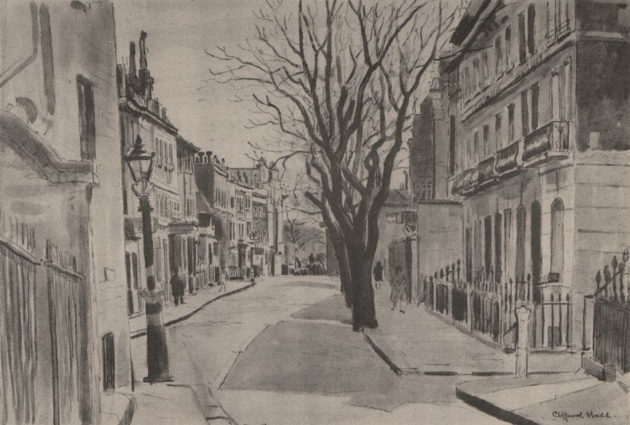 Associate Product CHELSEA. Cheyne Row, by Clifford Hall 1947 old vintage print picture