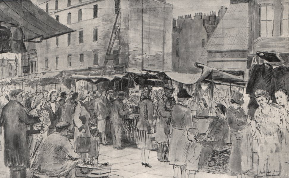 Associate Product WHITECHAPEL. Petticoat Lane market, by Rupert Shephard 1947 old vintage print