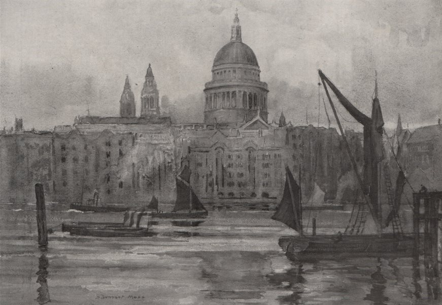 Associate Product LONDON. St. Paul's from Bankside, by S. Dennant Moss 1947 old vintage print