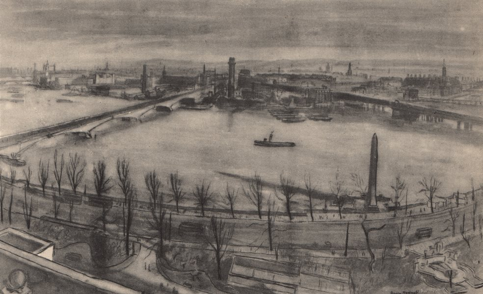 Associate Product SOUTH BANK. The King's Reach from Shell-Mex house. Frances Macdonald.London 1947