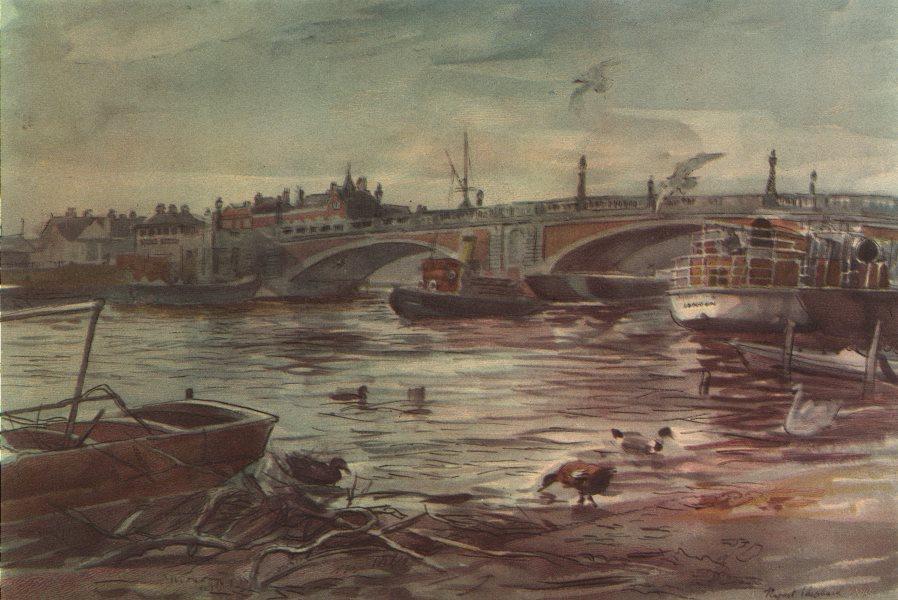 Associate Product LONDON. Hampton Court Bridge, by Rupert Shephard 1947 old vintage print