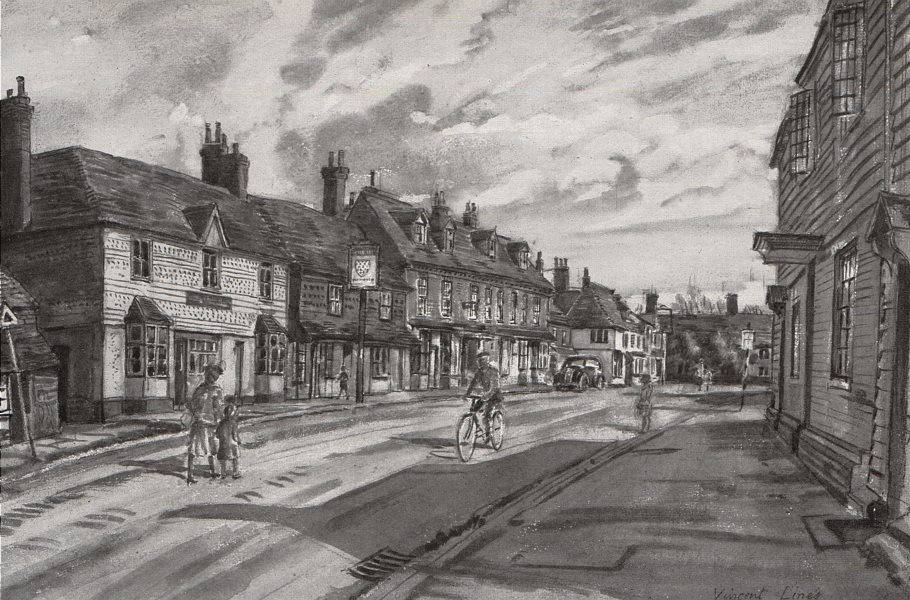 Associate Product BIDDENHAM. View of the town, by Vincent Lines. Kent 1947 old vintage print
