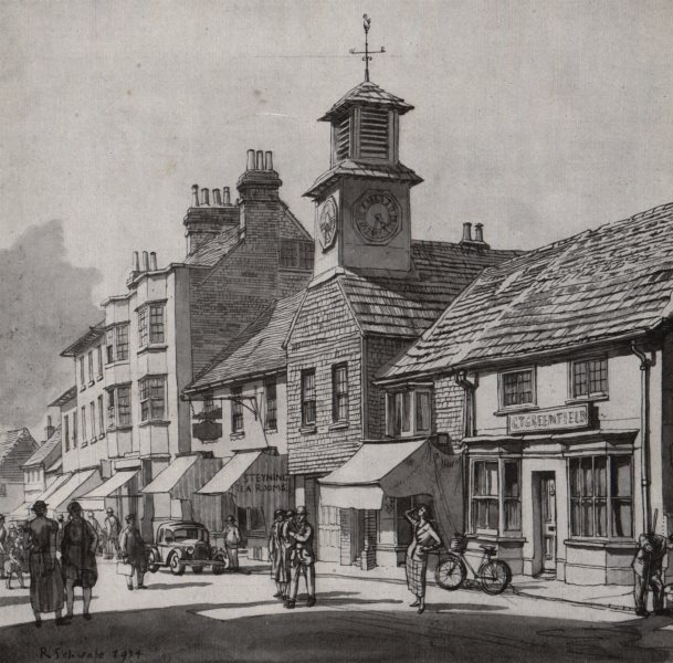 Associate Product STEYNING. The old market house, by Randolph Schwabe. Sussex 1947 print