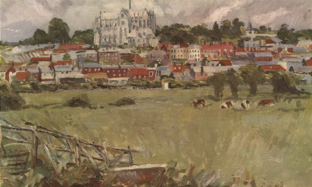 Associate Product ARUNDEL. View of the town, by Oliver Hill, R. A. Sussex 1947 old vintage print