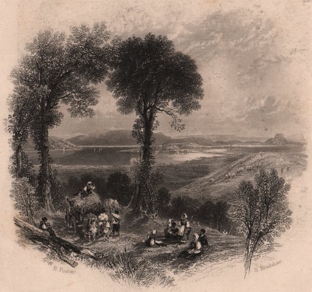 Associate Product LAKE CONSTANCE (BODENSEE) . Peasants haycart. Germany Switzerland Austria 1875