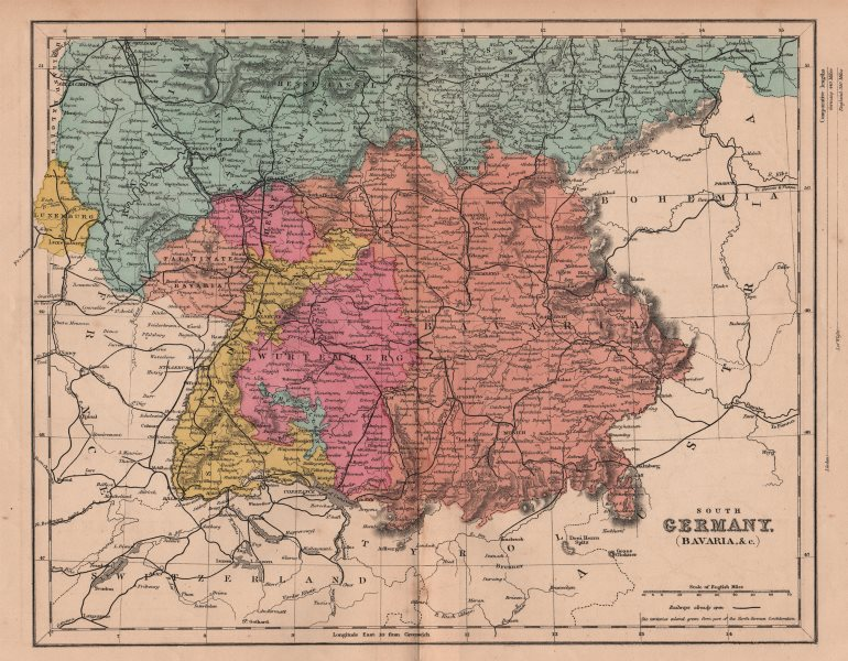 Associate Product SOUTHERN GERMANY. Bavaria Wurttemberg Hesse Baden. Franco-Prussian War 1875 map