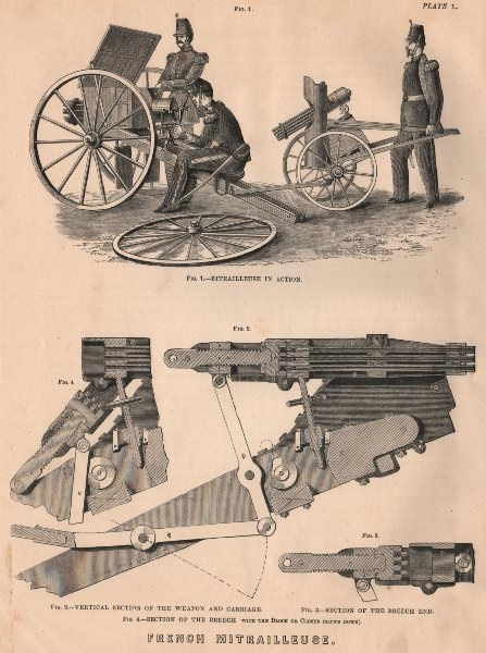 Associate Product FRANCO-PRUSSIAN WAR. French Mitrailleuse. Weapon Carriage Breech block 1875