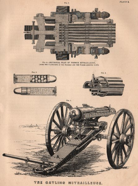 Associate Product FRANCO-PRUSSIAN WAR. The Gatling Mitrailleuse. Militaria 1875 old print