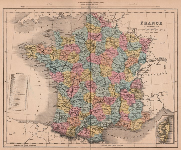 Associate Product FRANCO-PRUSSIAN WAR. France in Departments 1875 old antique map plan chart