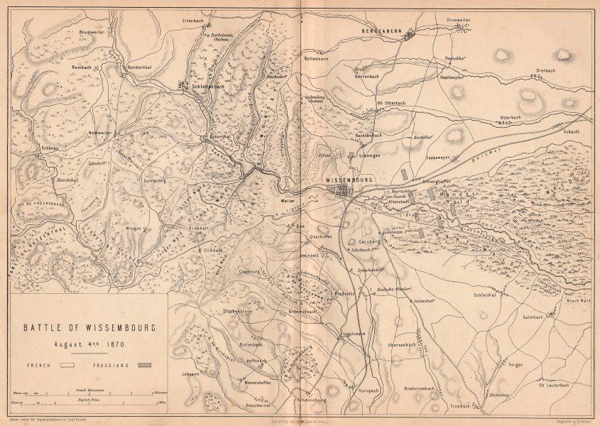 Associate Product FRANCO-PRUSSIAN WAR.Battle of Wissembourg 1870.Bergzabern Schlettenbach 1875 map