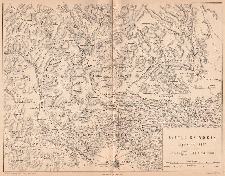 Associate Product FRANCO-PRUSSIAN WAR. Battle of Woerth 1870. Haguenau Soultz Bas-Rhin 1875 map