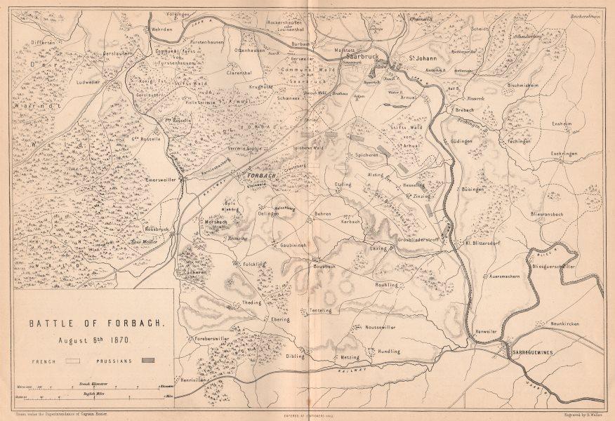 Associate Product FRANCO-PRUSSIAN WAR. Battle of Forbach Aug 6 1870. Saarbrücken. Moselle 1875 map