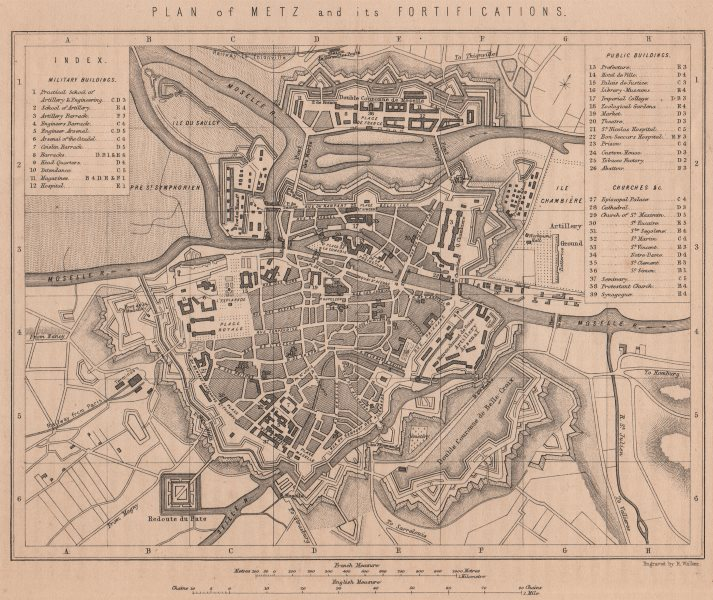 Associate Product FRANCO-PRUSSIAN WAR. Plan of Metz and its Fortifications. Moselle 1875 old map