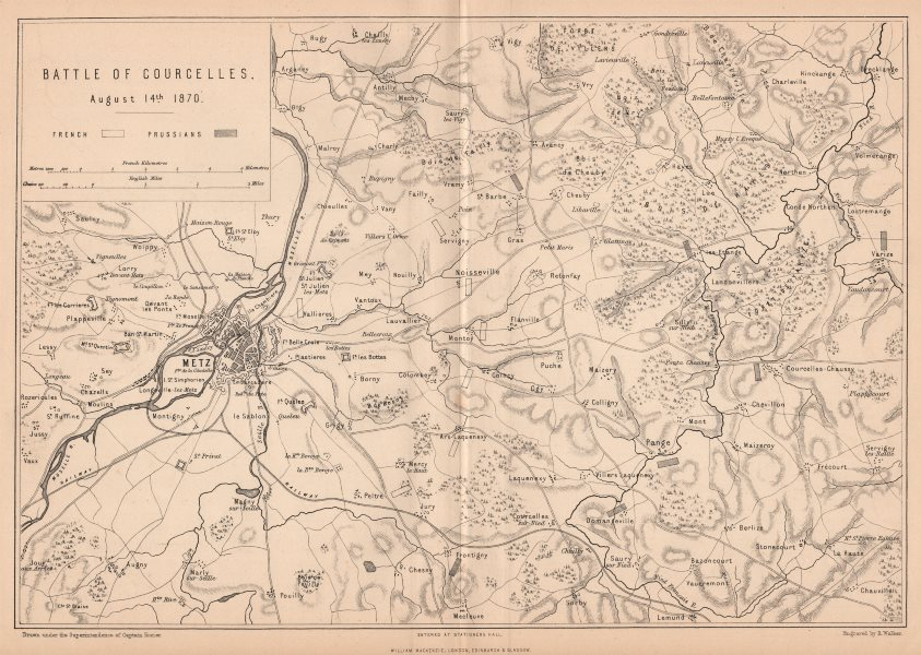 Associate Product FRANCO-PRUSSIAN WAR. Battle of Courcelles (Borny–Colombey) 1870. Metz 1875 map