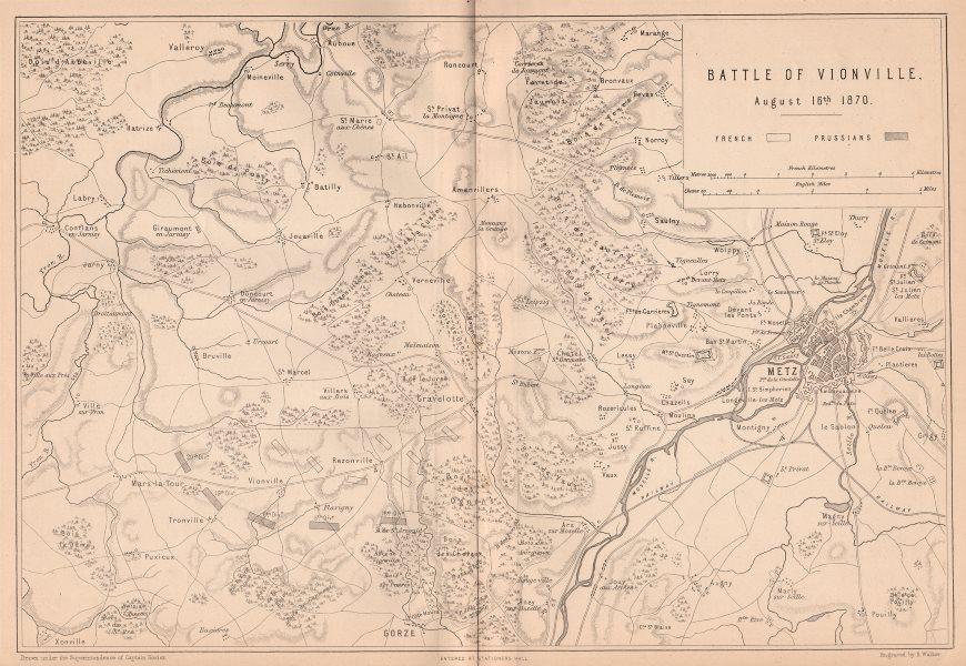 Associate Product FRANCO-PRUSSIAN WAR. Battle of Vionville (Mars-la-Tour) Aug 1870. Metz 1875 map