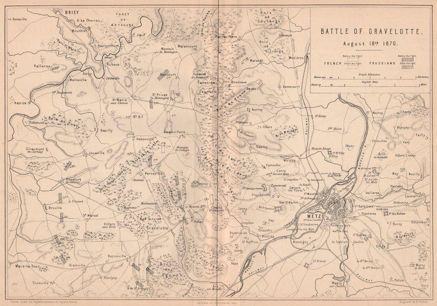 Associate Product FRANCO-PRUSSIAN WAR. Battle of Gravelotte August 18 1870. Metz. Moselle 1875 map