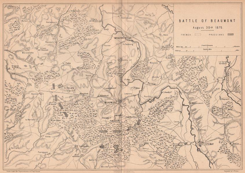 Associate Product FRANCO-PRUSSIAN WAR. Battle of Beaumont-en-Argonne 1870. Mouzon Stenay 1875 map