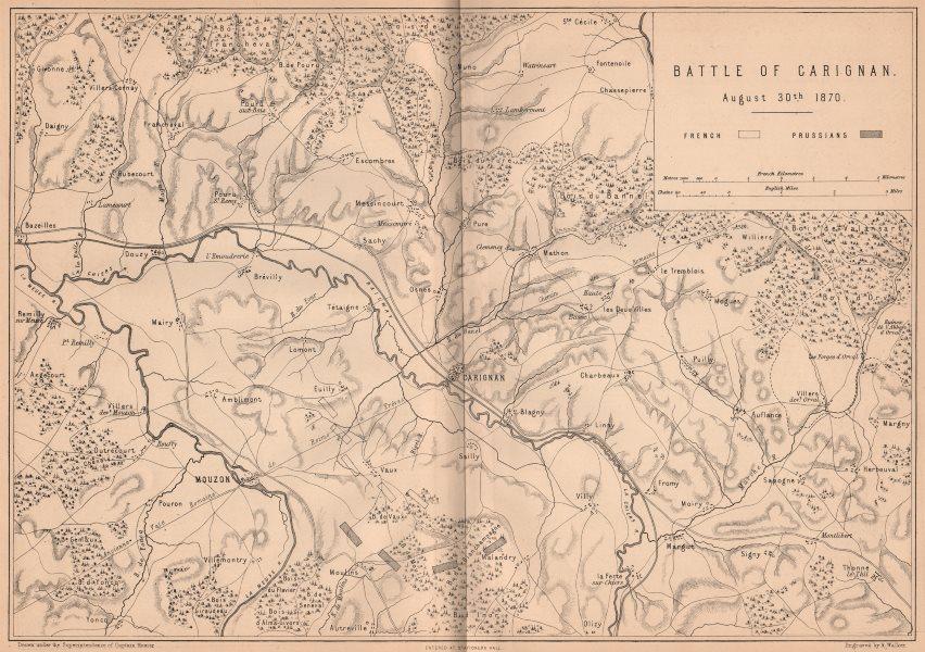 Associate Product FRANCO-PRUSSIAN WAR. Battle of Carignan 1870. Mouzon Ardennes 1875 old map