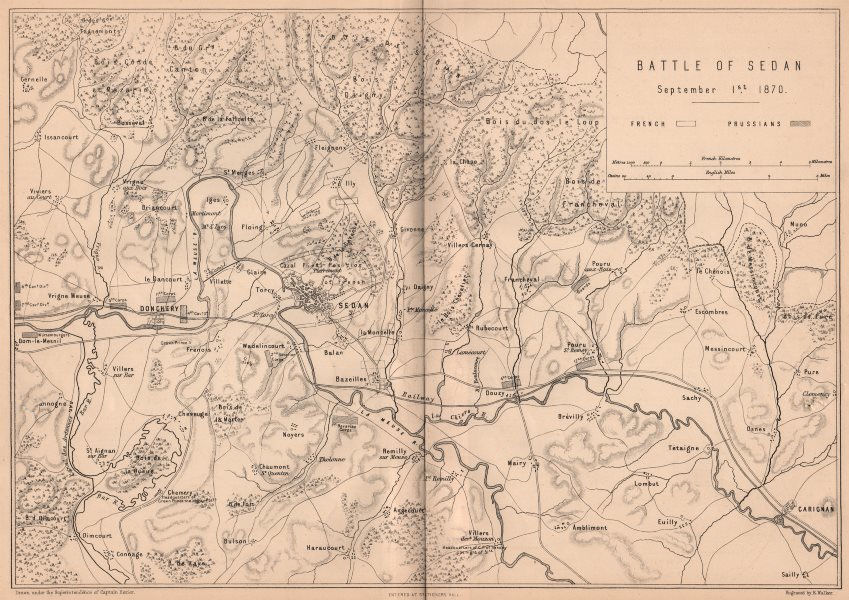Associate Product FRANCO-PRUSSIAN WAR. Battle of Sedan September 1870. Donchery Ardennes 1875 map