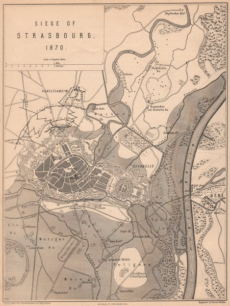 Associate Product SIEGE OF STRASBOURG 1870. Franco-Prussian War. Kehl. Bas-Rhin 1875 old map