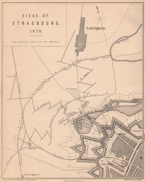 Associate Product SIEGE OF STRASBOURG 1870 WAR. Sketch of works. Schiltigheim 1875 old map