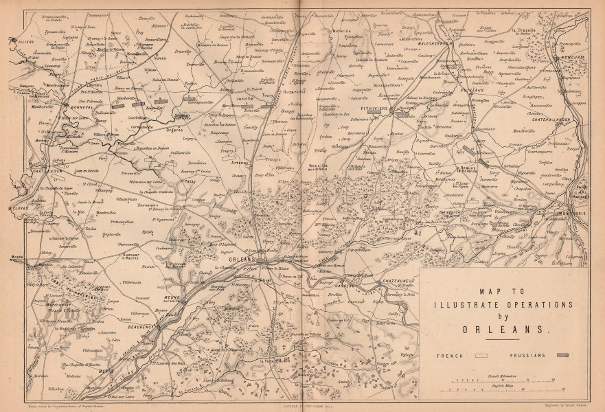 Associate Product FRANCO-PRUSSIAN WAR. Operations around Orleans/Orléans. Loire valley 1875 map
