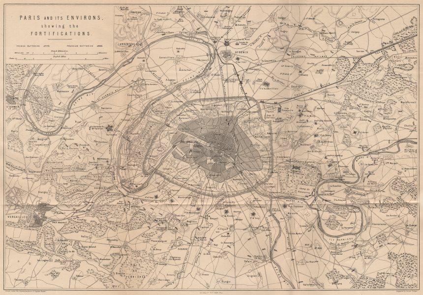 Associate Product PARIS FORTIFICATIONS. Franco-Prussian War. Paris Environs. Versailles 1875 map