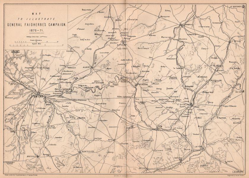 FRANCO-PRUSSIAN WAR. Gen. Faidherbe's Campaign 1870-71. Picardie Amiens 1875 map