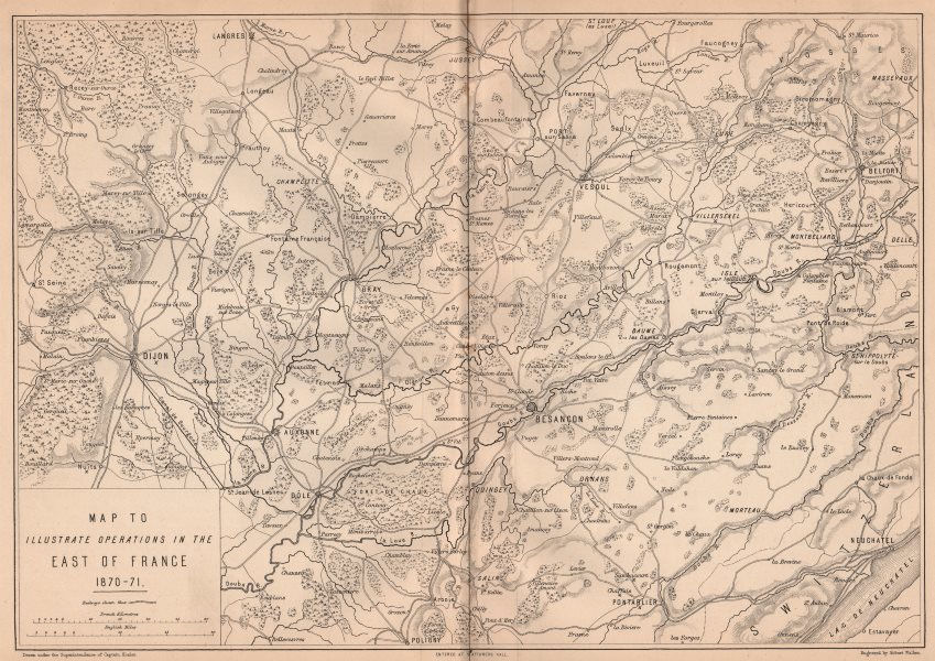 Associate Product FRANCO-PRUSSIAN WAR 1870-71. Operations in Franche-Comté & Burgundy 1875 map