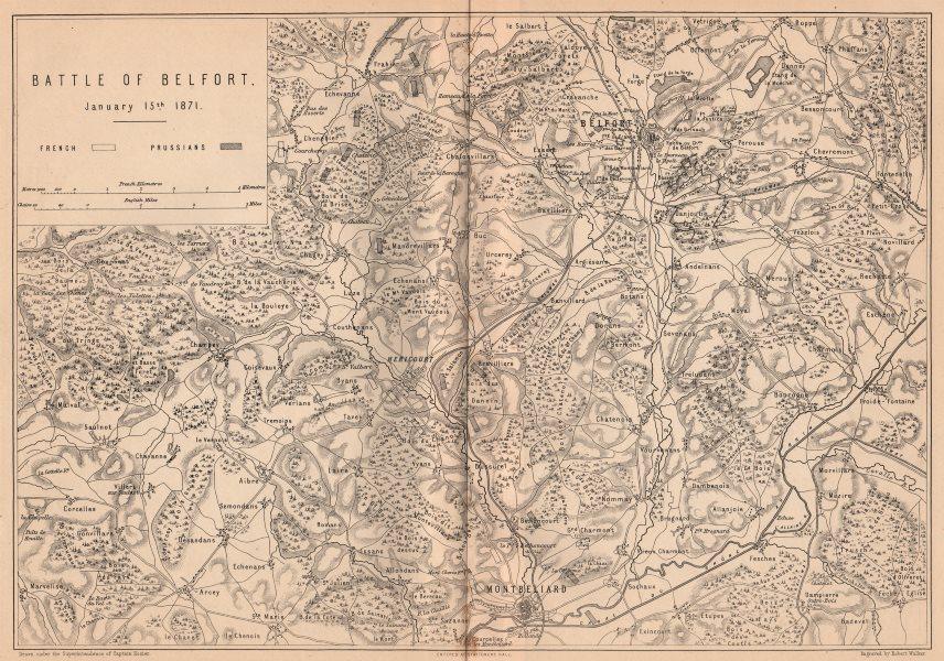 Associate Product FRANCO-PRUSSIAN WAR. Battle of Belfort 1871. Montbeliard Franche-Comté 1875 map