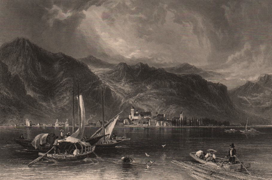 Associate Product BREGENZ. Attractive steel engraving. Austria. Bodensee Lake Constance boats 1875