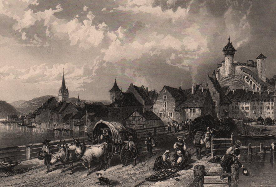 Associate Product SCHAFFHAUSEN. Steel engraving. Switzerland. Rhine Valley. Cattle & cart 1875