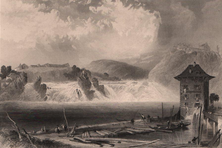 RHINE FALLS, SCHAFFHAUSEN. Steel engraved view. Switzerland. Boats 1875 print