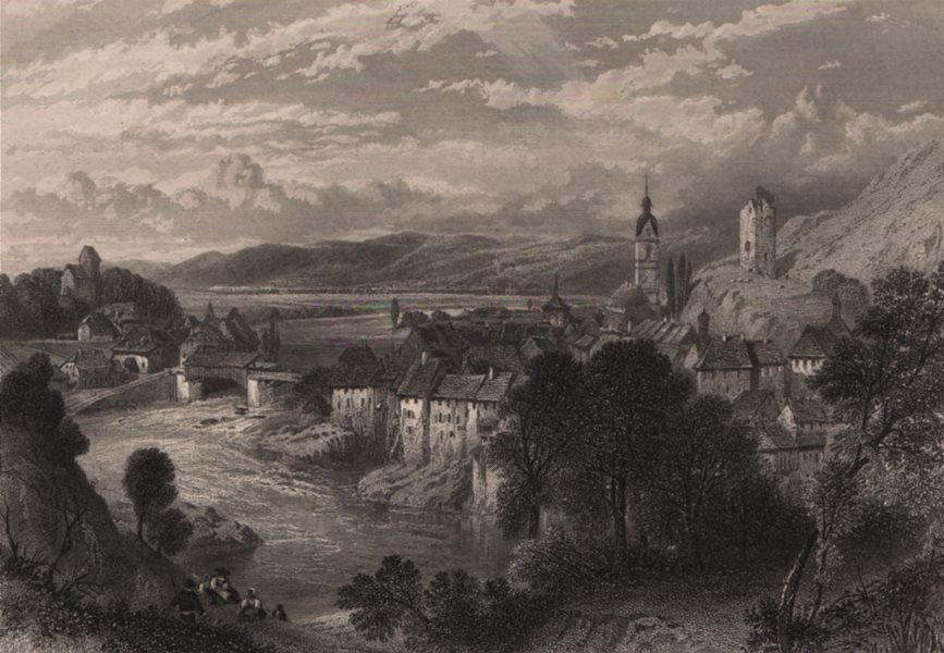 Associate Product LAUFENBURG. Attractive town view. Steel engraving. Switzerland Rhine Valley 1875