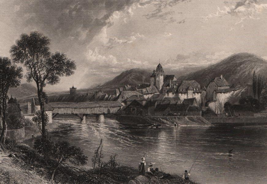 Associate Product RHEINFELDEN. Attractive steel engraving. Switzerland. Rhine Valley. Fishing 1875